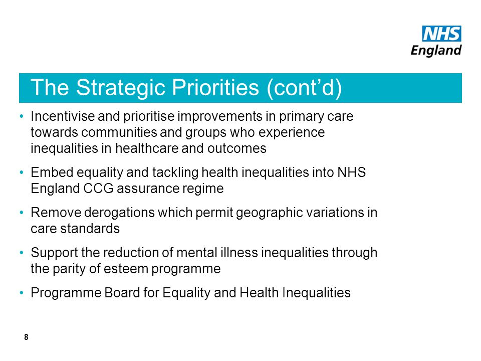 The Strategic Priorities (cont'd)