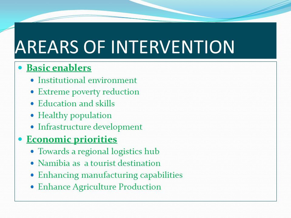 AREARS OF INTERVENTION