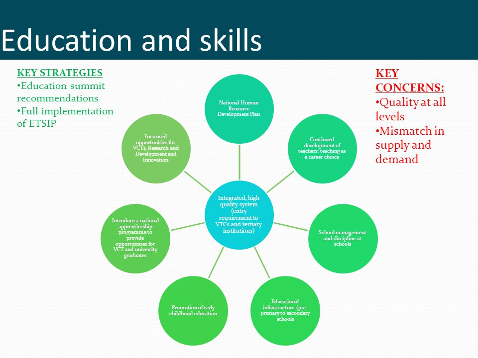 Education and skills KEY CONCERNS: Quality at all levels