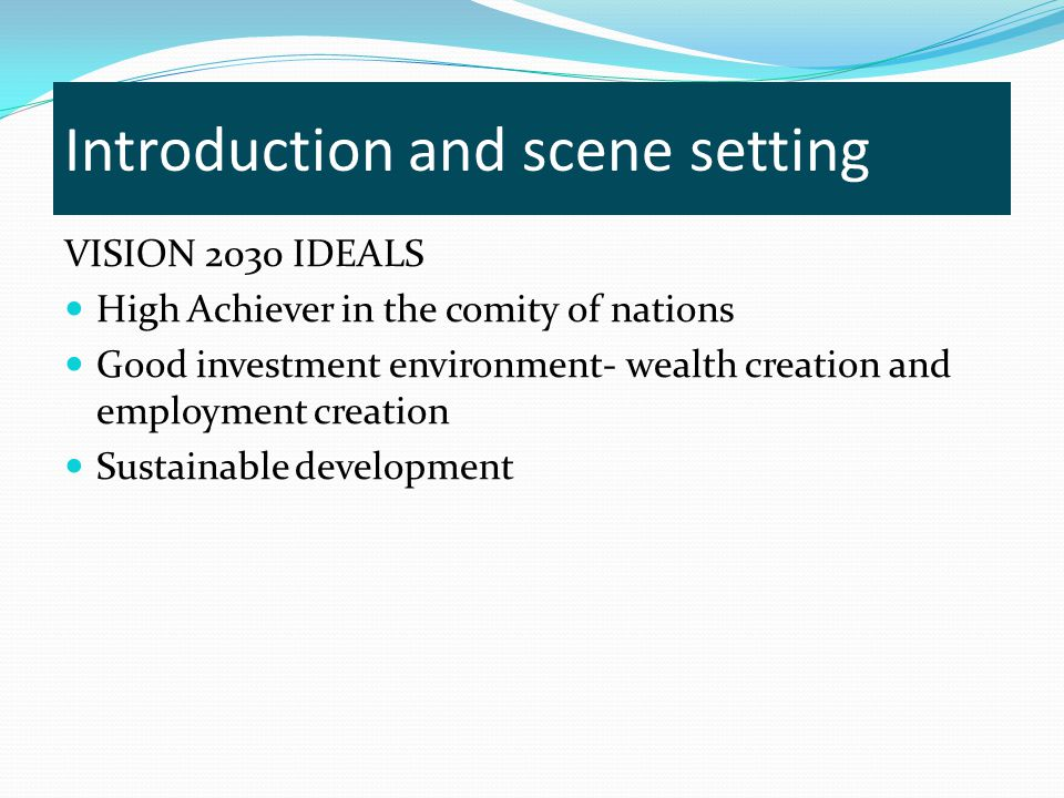 Introduction and scene setting