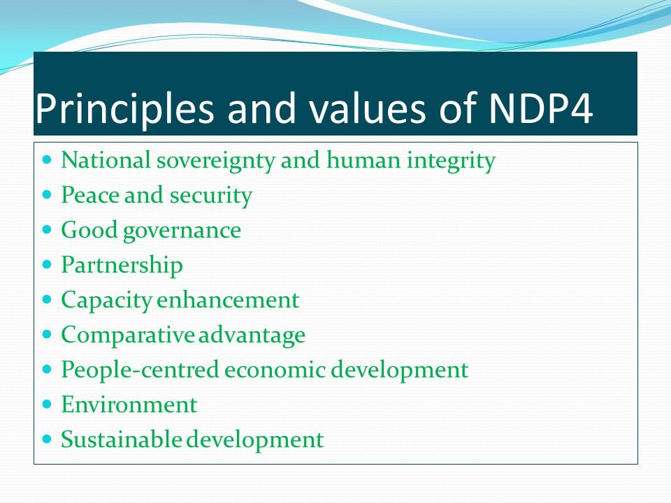 Principles and values of NDP4