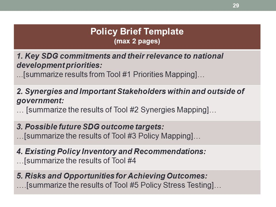 Policy Brief Template (max 2 pages) 1. Key SDG commitments and their relevance to national development priorities:
