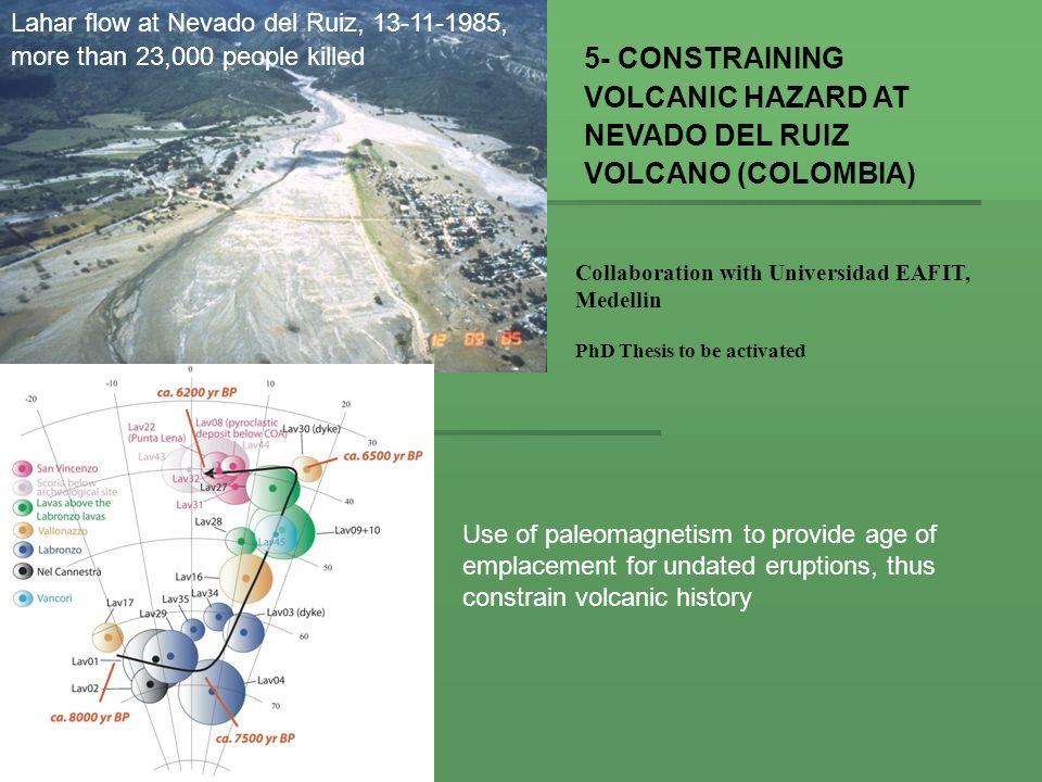 5- CONSTRAINING VOLCANIC HAZARD AT NEVADO DEL RUIZ VOLCANO (COLOMBIA)