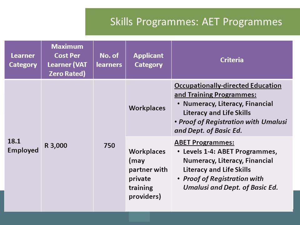 Skills Programmes: AET Programmes