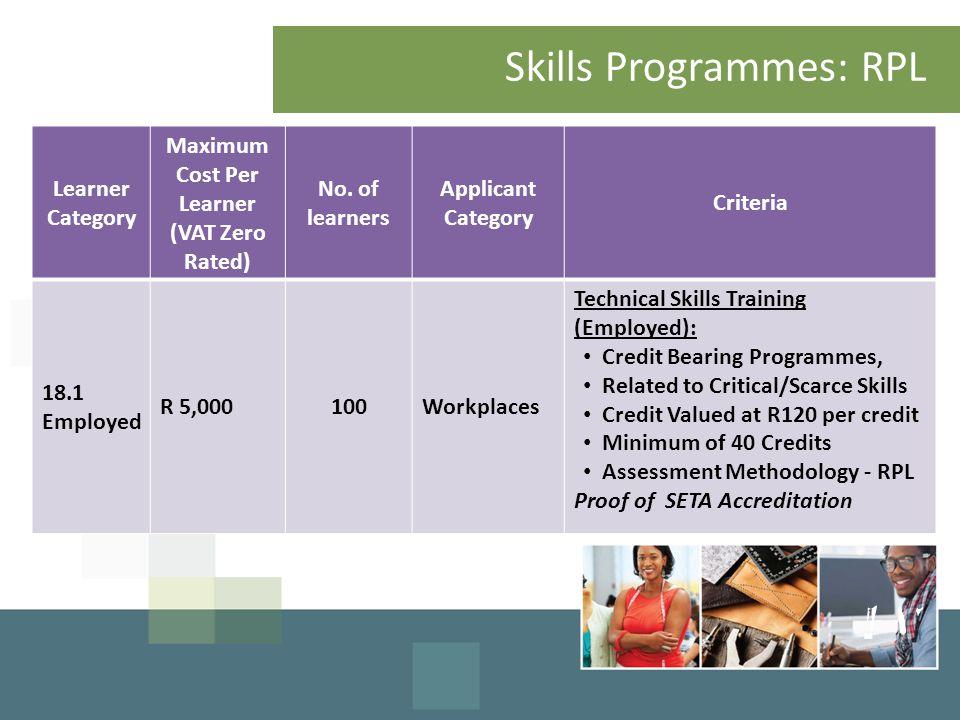Skills Programmes: RPL