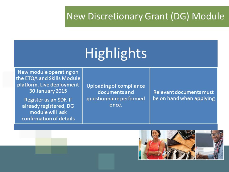New Discretionary Grant (DG) Module