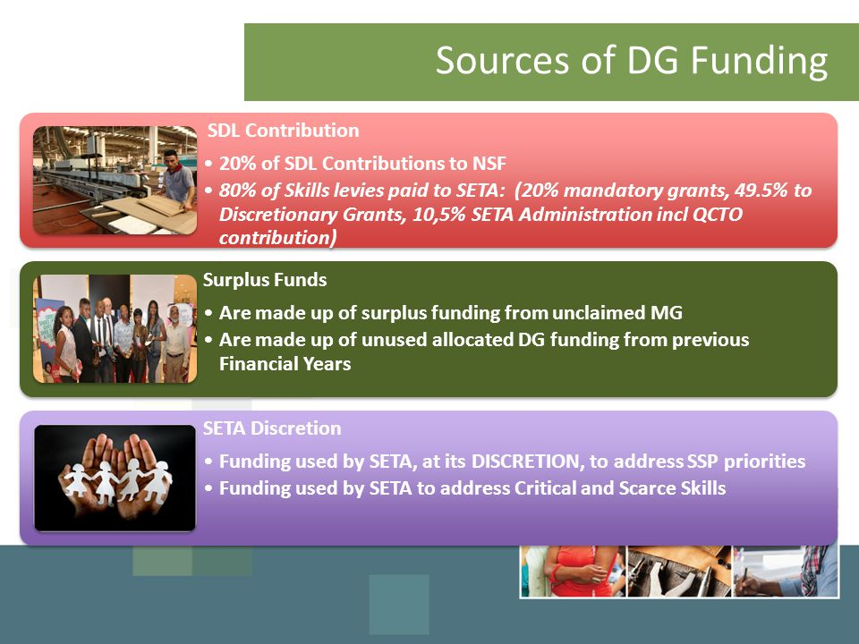 Sources of DG Funding SDL Contribution 20% of SDL Contributions to NSF