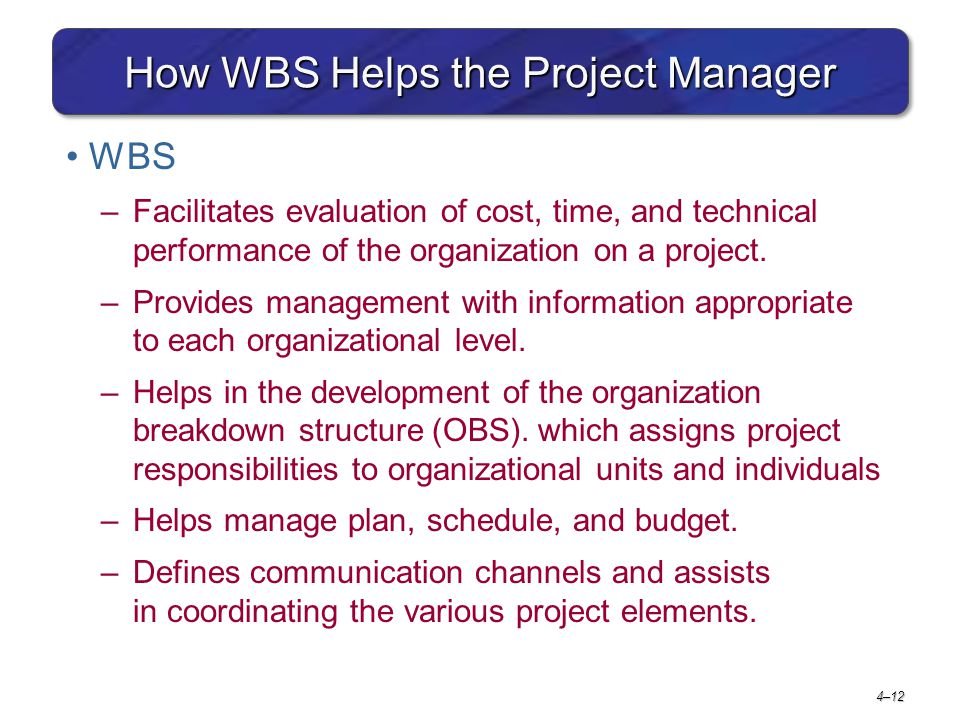 How WBS Helps the Project Manager