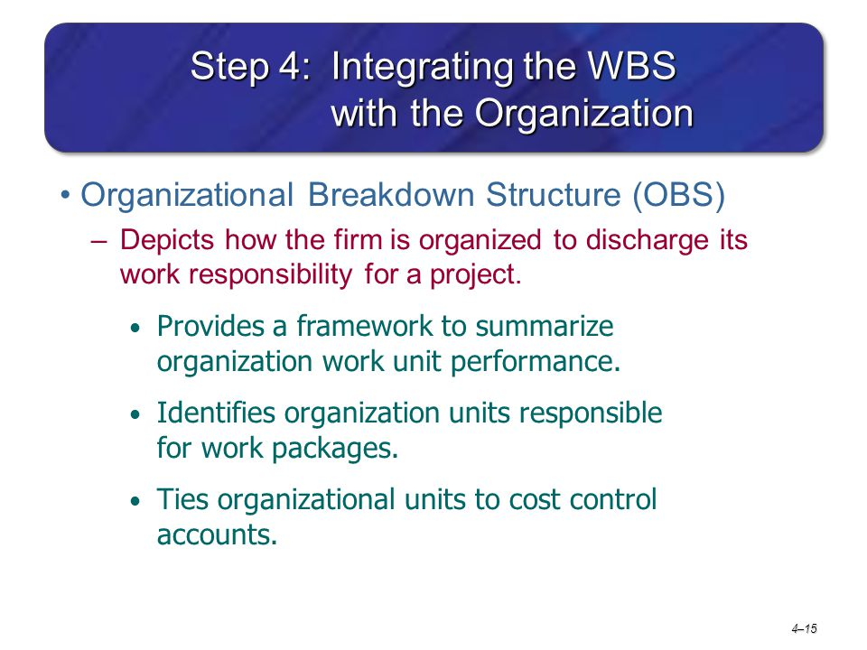 Step 4: Integrating the WBS with the Organization