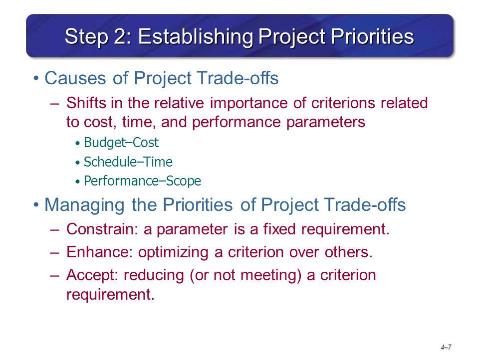 Step 2: Establishing Project Priorities