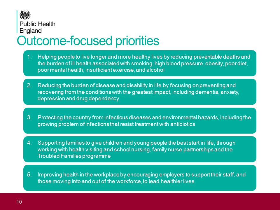 Outcome-focused priorities