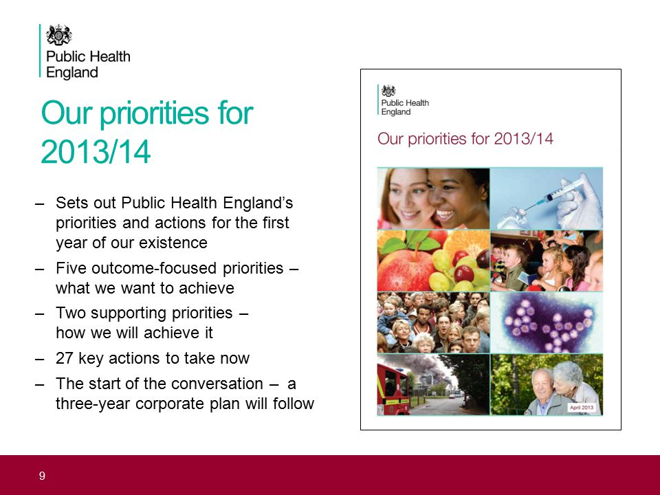 Our priorities for 2013/14 Sets out Public Health England's priorities and actions for the first year of our existence.
