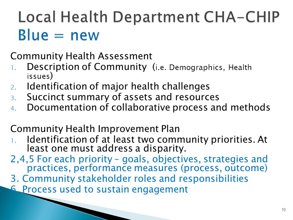 Local Health Department CHA-CHIP Blue = new