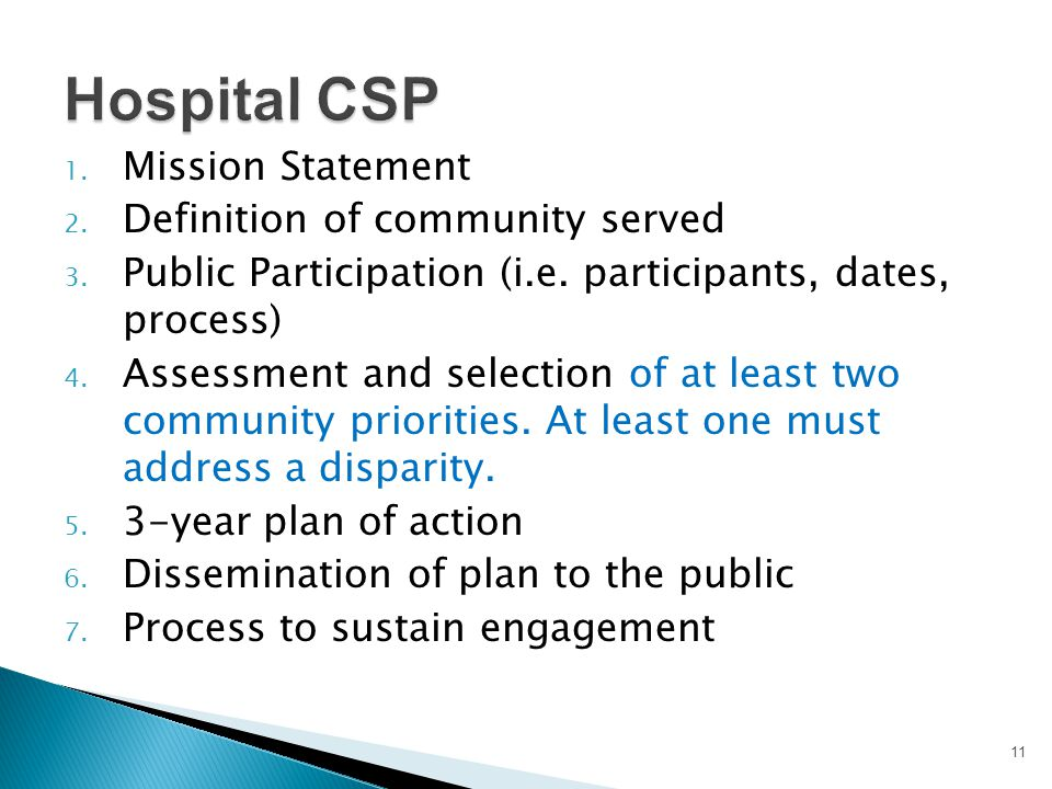 Hospital CSP Mission Statement Definition of community served