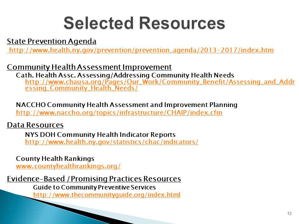 Selected Resources State Prevention Agenda. http://www.health.ny.gov/prevention/prevention_agenda/2013-2017/index.htm.