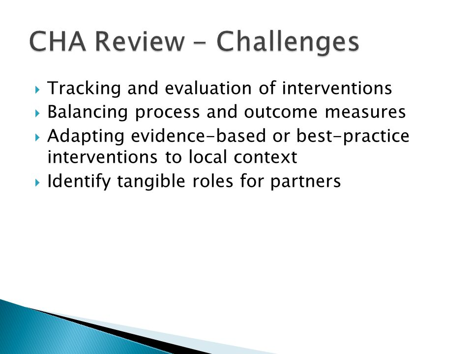 CHA Review - Challenges