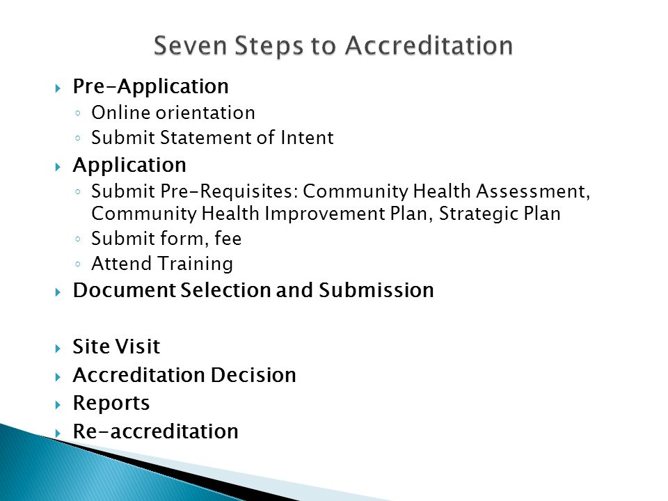 Seven Steps to Accreditation