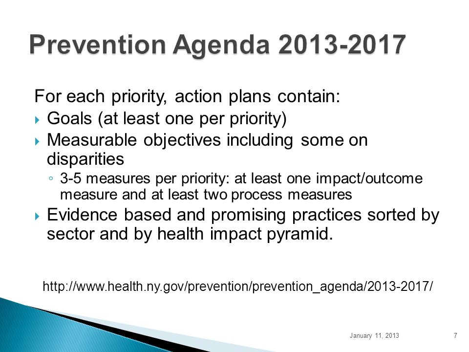 Prevention Agenda 2013-2017 For each priority, action plans contain: