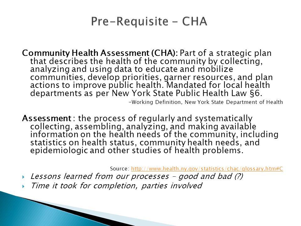 Pre-Requisite - CHA