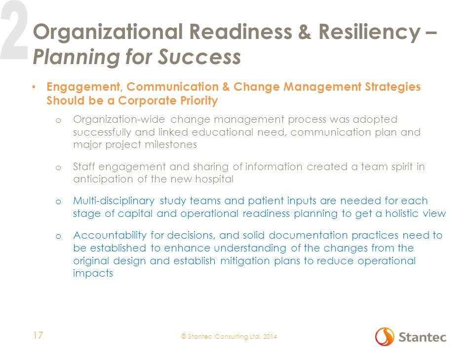 Organizational Readiness & Resiliency – Planning for Success