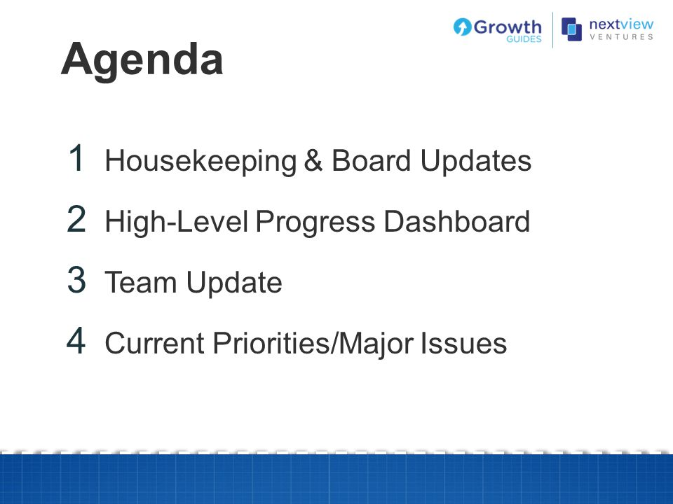Agenda Housekeeping & Board Updates High-Level Progress Dashboard