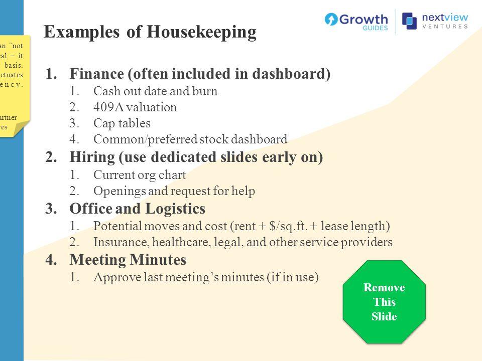 Examples of Housekeeping