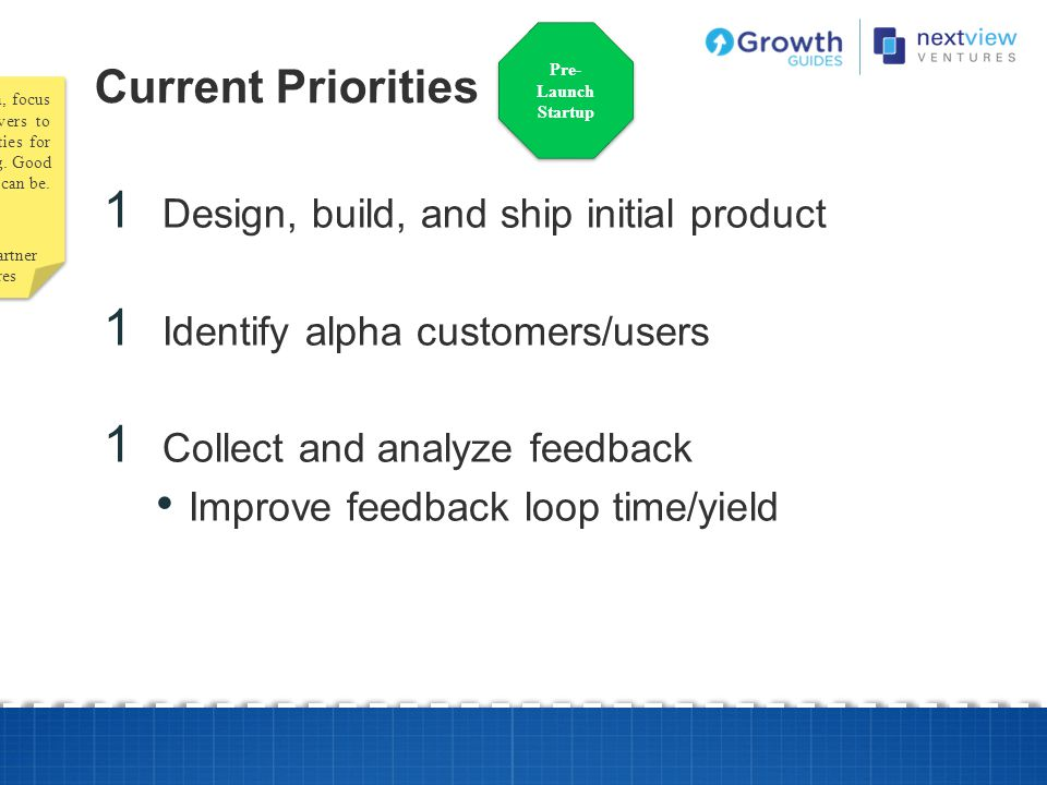Current Priorities Design, build, and ship initial product