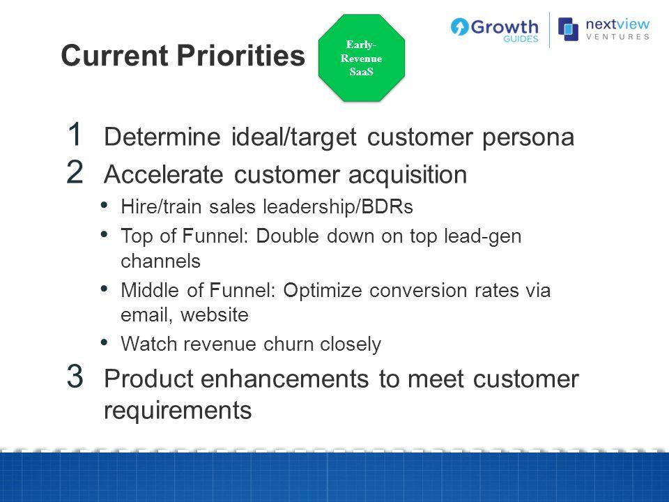Current Priorities Determine ideal/target customer persona