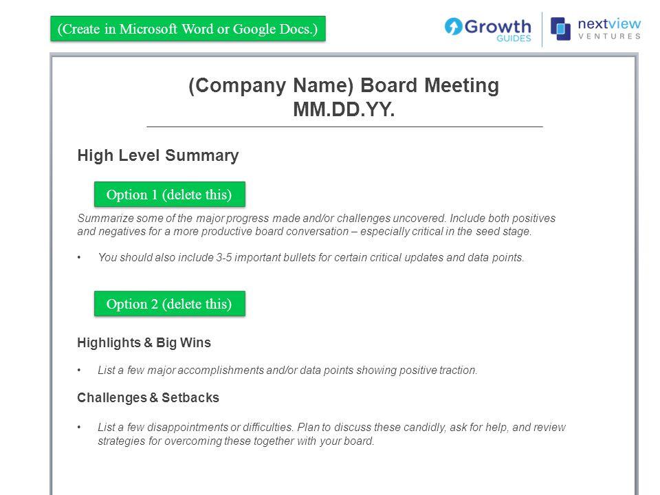 (Company Name) Board Meeting