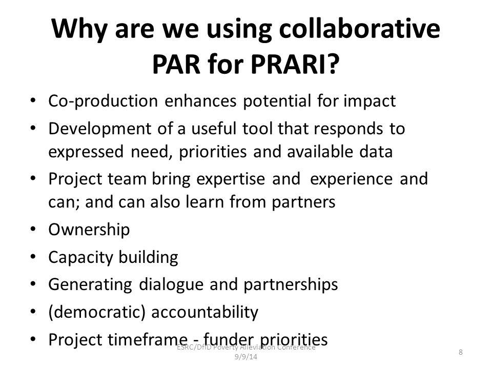 Why are we using collaborative PAR for PRARI