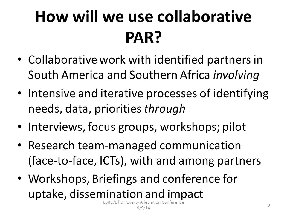 How will we use collaborative PAR