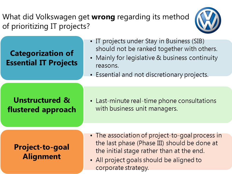 Categorization of Essential IT Projects