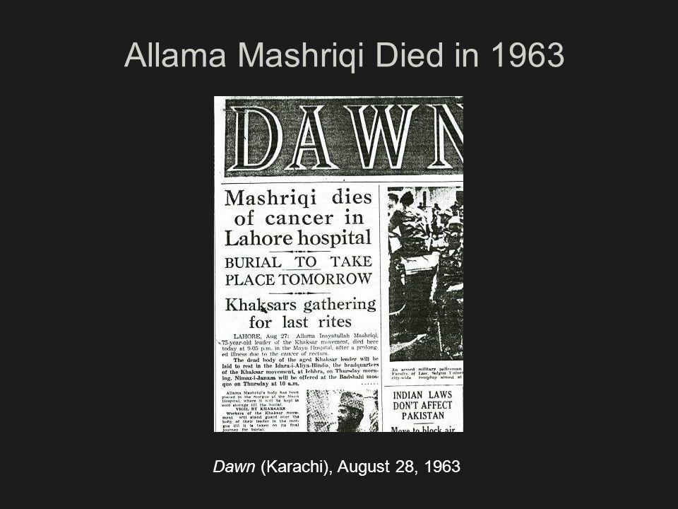 Allama Mashriqi Died in 1963
