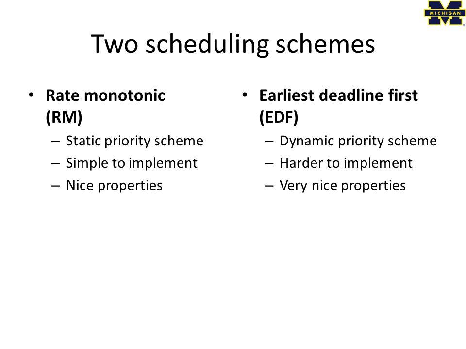 Two scheduling schemes
