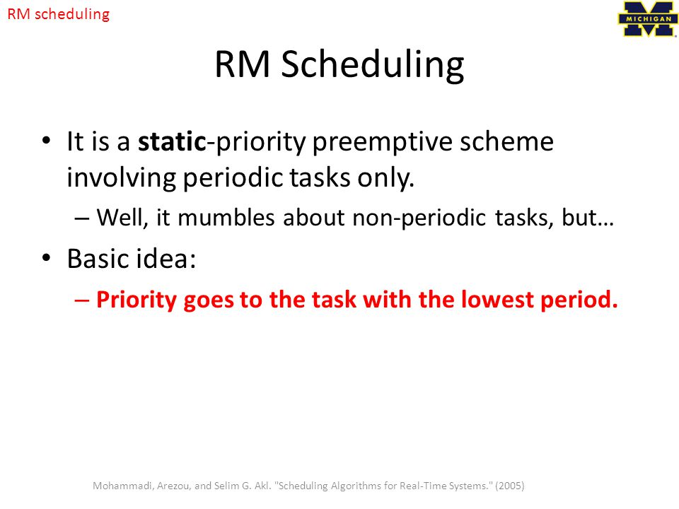 RM scheduling RM Scheduling. It is a static-priority preemptive scheme involving periodic tasks only.