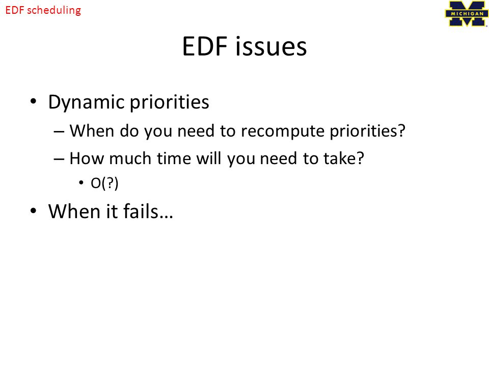 EDF issues Dynamic priorities When it fails…