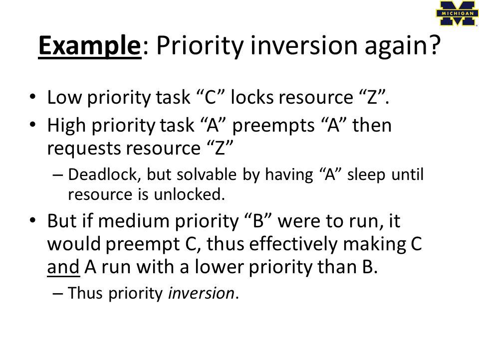Example: Priority inversion again