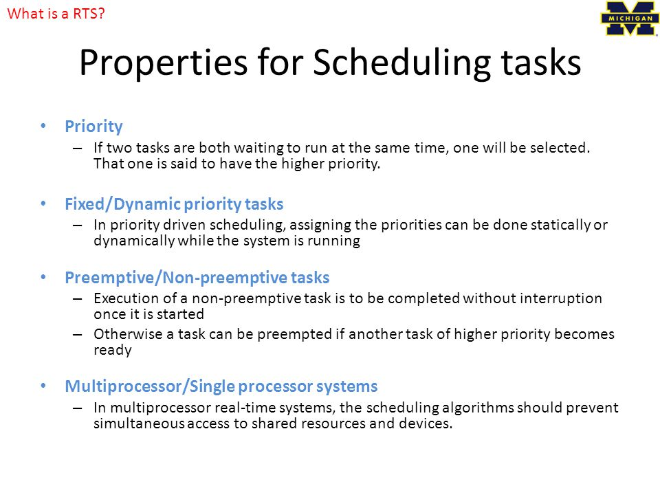 Properties for Scheduling tasks