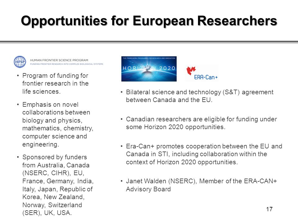 Opportunities for European Researchers