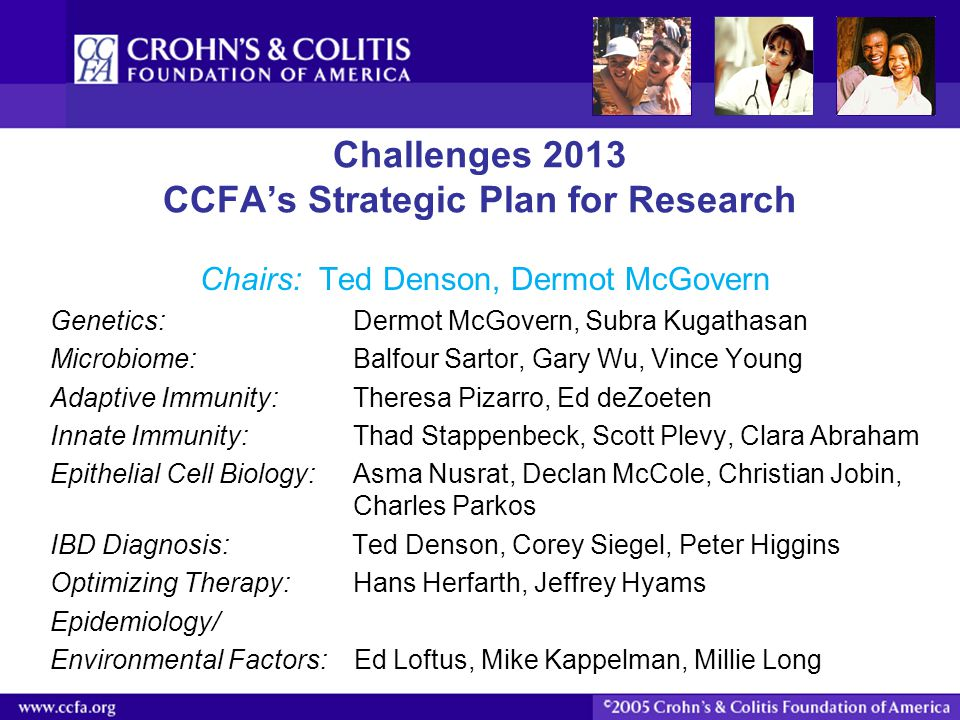 Challenges 2013 CCFA's Strategic Plan for Research