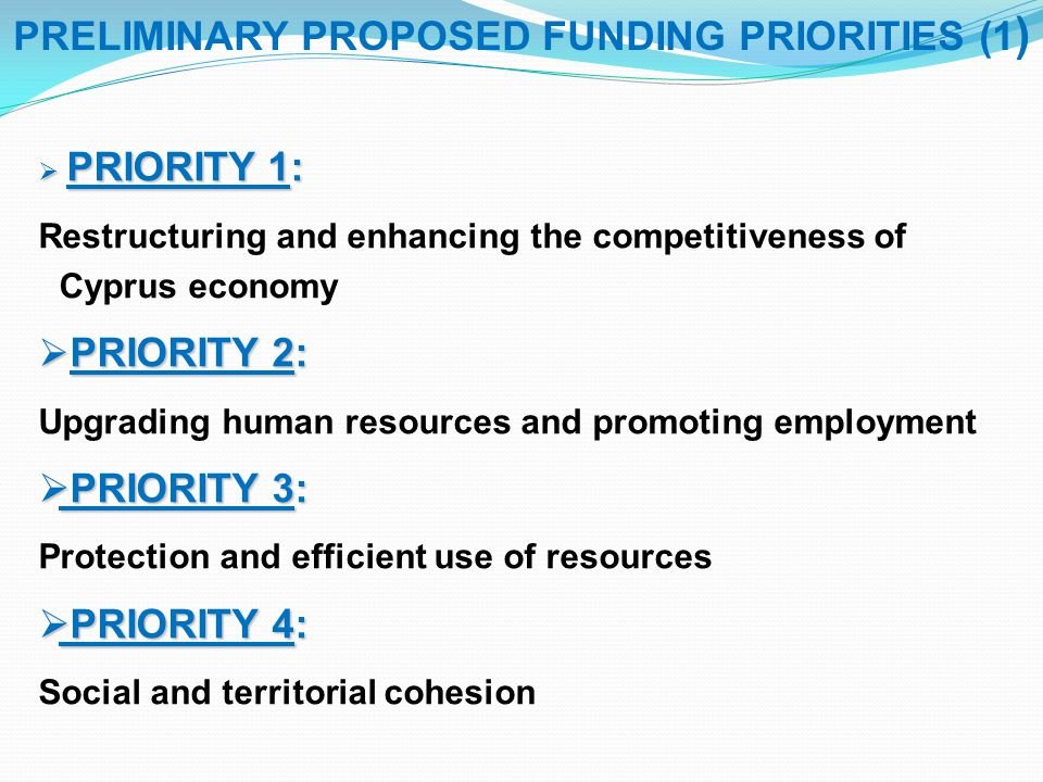 PRELIMINARY PROPOSED FUNDING PRIORITIES (1)