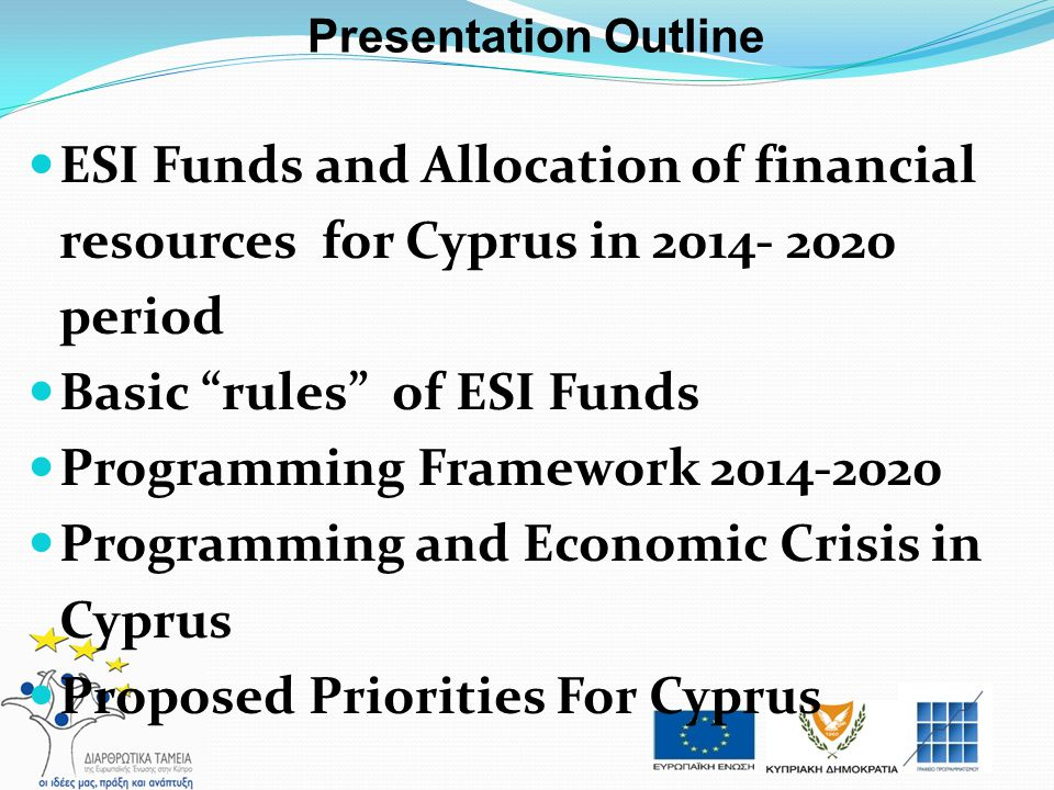Basic rules of ESI Funds Programming Framework