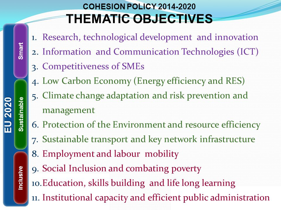 COHESION POLICY THEMATIC OBJECTIVES