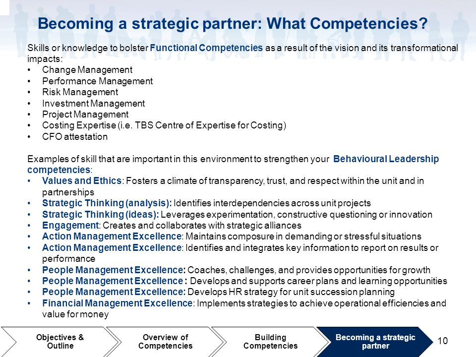 Becoming a strategic partner: What Competencies