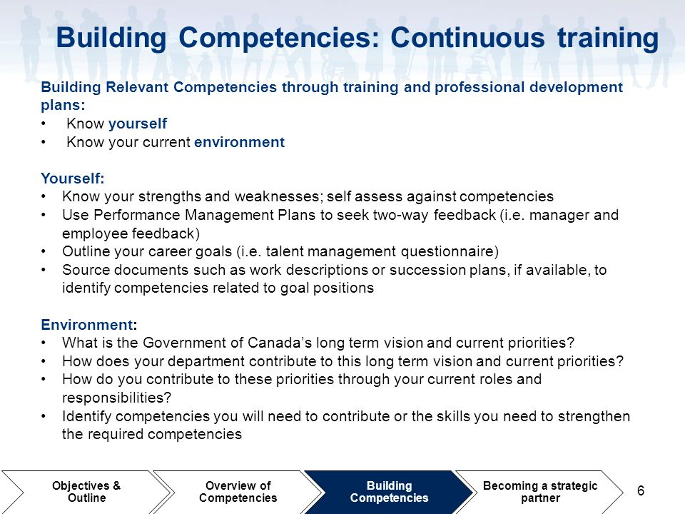 Building Competencies: Continuous training