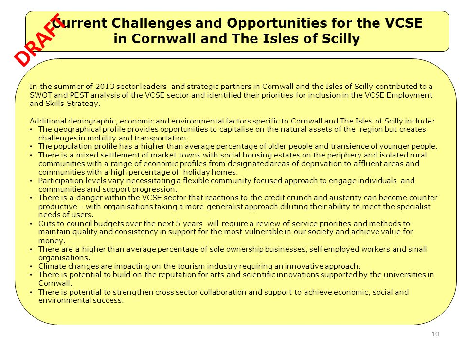 DRAFT Current Challenges and Opportunities for the VCSE
