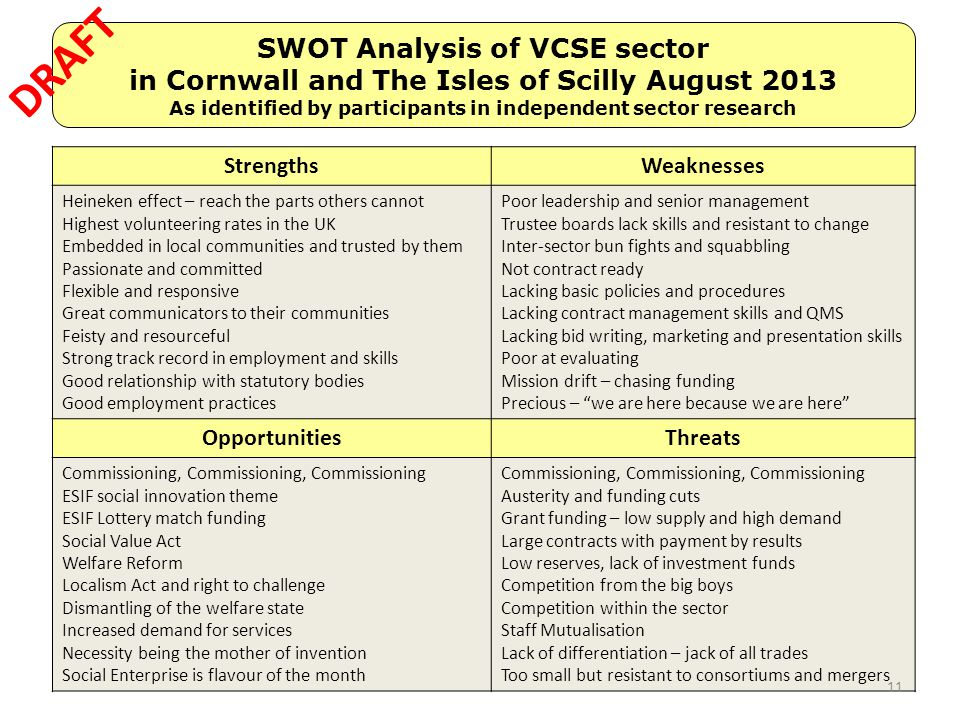 DRAFT SWOT Analysis of VCSE sector