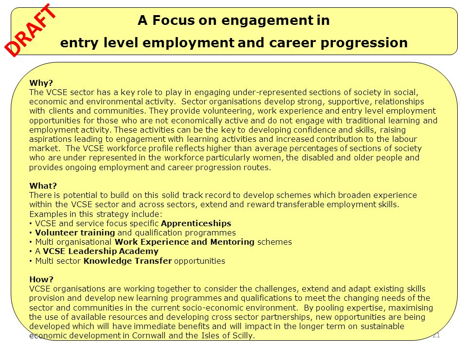 A Focus on engagement in entry level employment and career progression