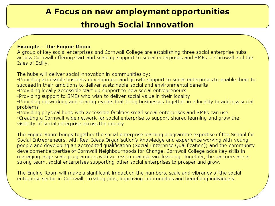 A Focus on new employment opportunities through Social Innovation