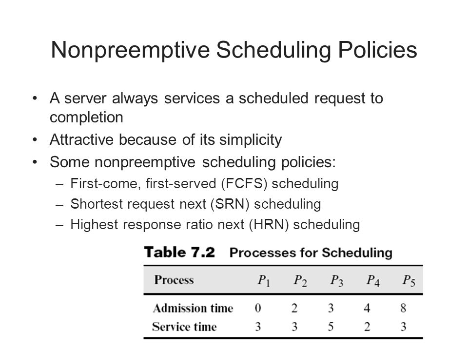 Nonpreemptive Scheduling Policies